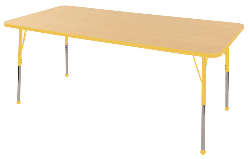 36in x 72in Rectangle Premium Thermo-Fused Adjustable Activity Table Maple/Yellow/Yellow - Standard Ball