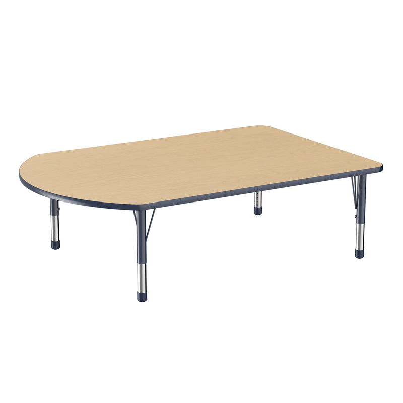 48in x 72in Work Around Premium Thermo-Fused Adjustable Activity Table Maple/Navy/Navy - Chunky Leg