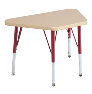 18in x 30in Trapezoid Premium Thermo-Fused Adjustable Activity Table Maple/Maple/Red - Standard Swivel