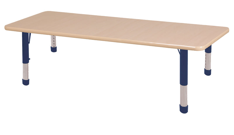 36in x 72in Rectangle Premium Thermo-Fused Adjustable Activity Table Maple/Maple/Navy - Chunky Leg