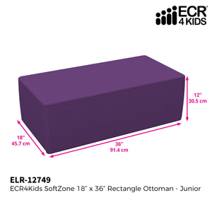 SoftZone® 18in x 36in Rectangular Ottoman Junior - Purple