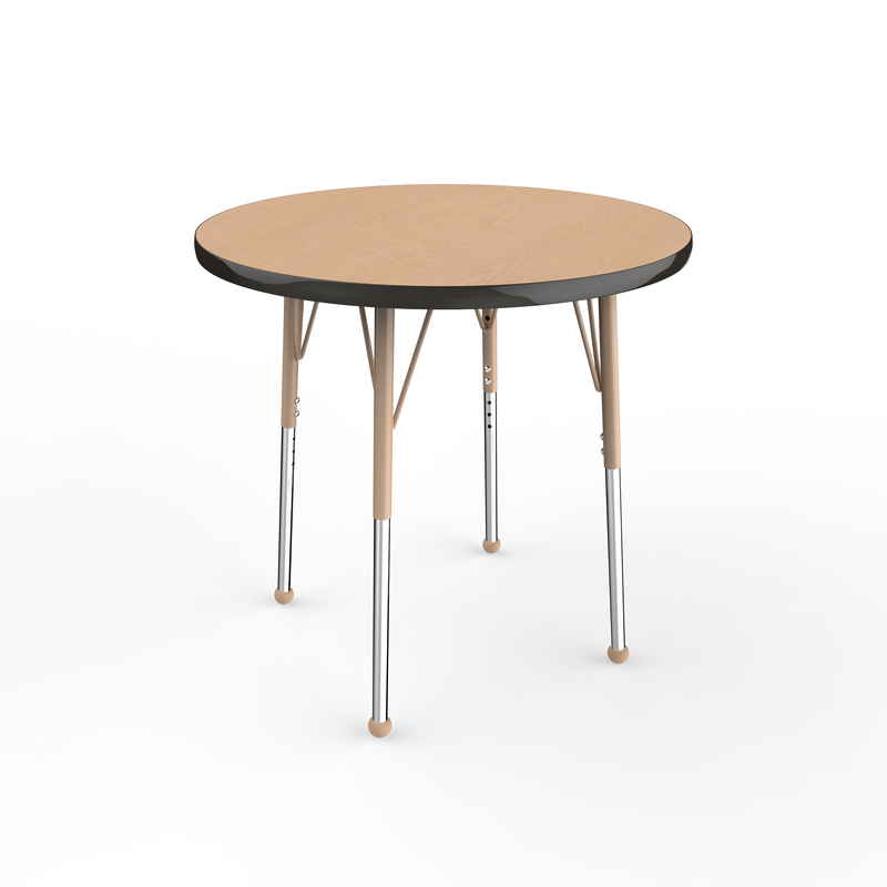 30in Round Premium Thermo-Fused Adjustable Activity Table Maple/Black/Sand - Standard Ball