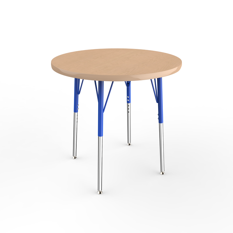 30in Round Premium Thermo-Fused Adjustable Activity Table Maple/Maple/Blue - Standard Swivel