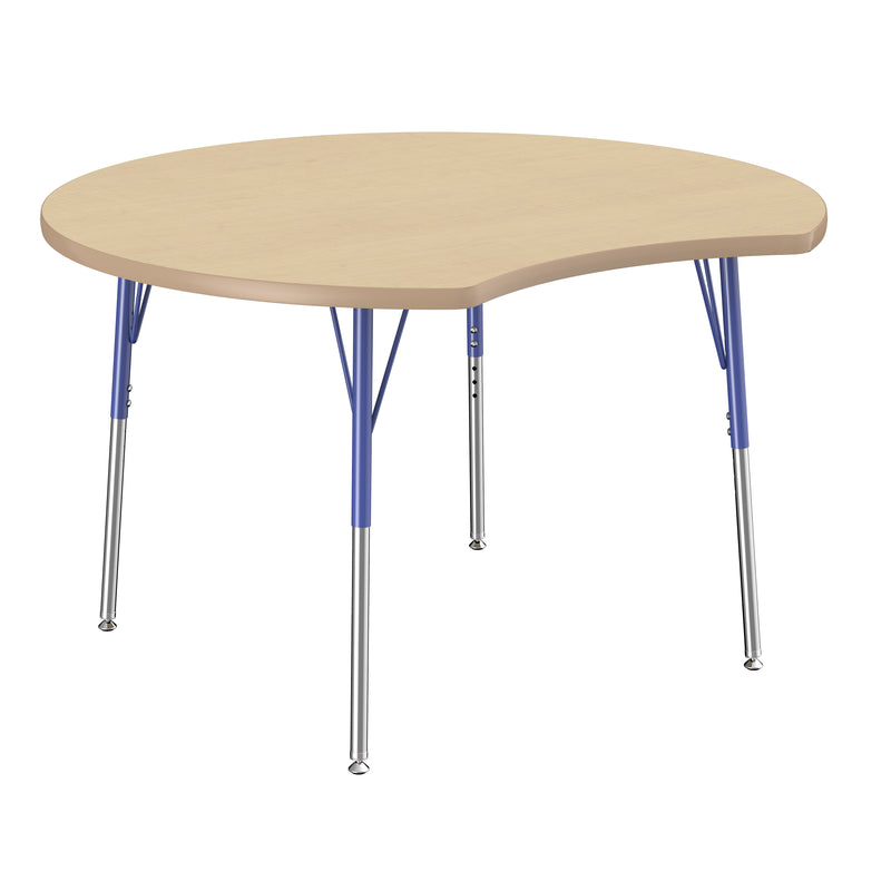 48in Crescent Premium Thermo-Fused Adjustable Activity Table Maple/Maple/Blue - Standard Swivel