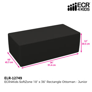 SoftZone® 18in x 36in Rectangular Ottoman Junior - Black