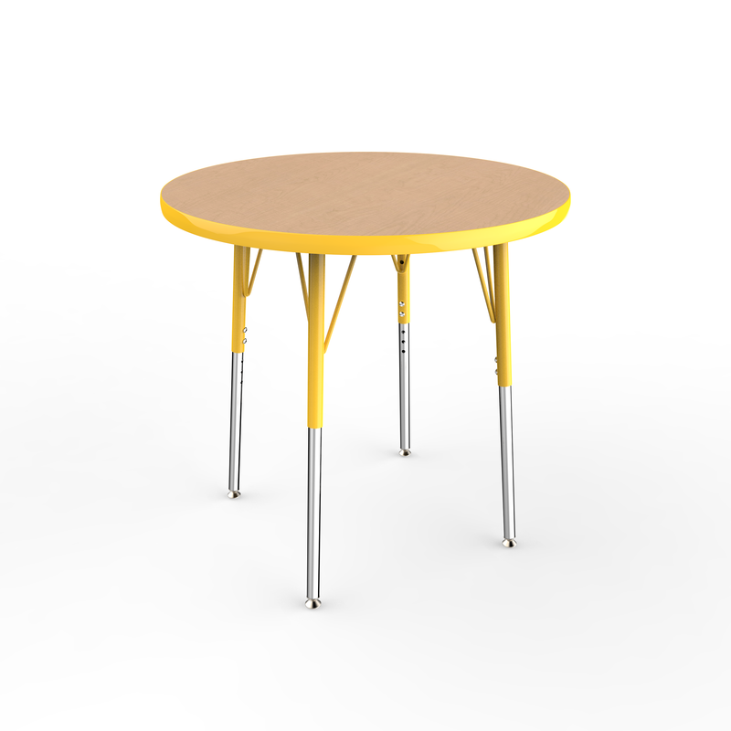 30in Round Premium Thermo-Fused Adjustable Activity Table Maple/Yellow/Yellow - Standard Swivel