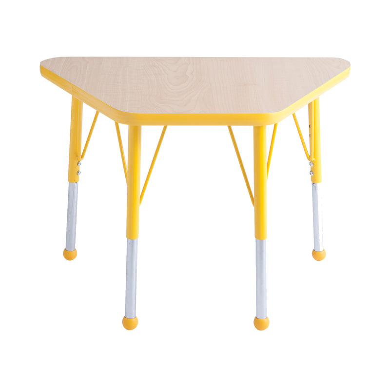 18in x 30in Trapezoid Premium Thermo-Fused Adjustable Activity Table Maple/Yellow/Yellow - Standard Ball