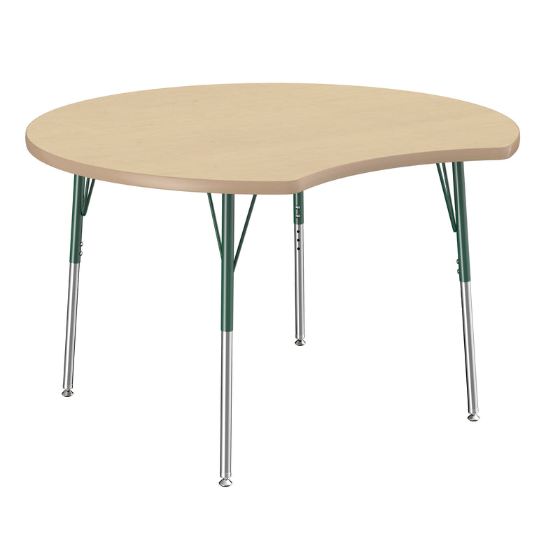 48in Crescent Premium Thermo-Fused Adjustable Activity Table Maple/Maple/Green - Standard Swivel