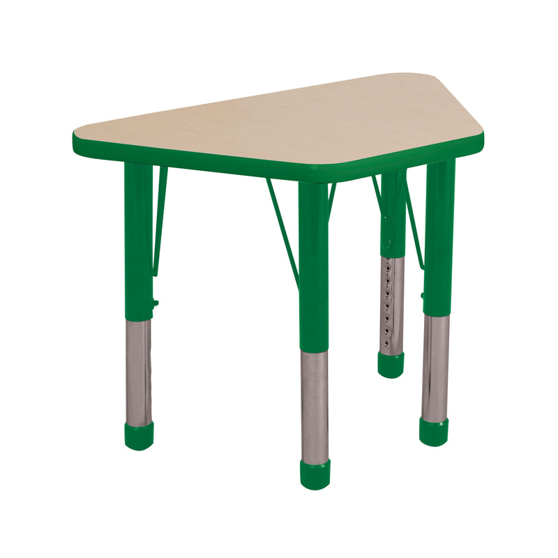 18in x 30in Trapezoid Premium Thermo-Fused Adjustable Activity Table Maple/Green/Green - Chunky Leg