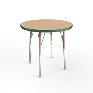 30in Round Premium Thermo-Fused Adjustable Activity Table Maple/Green/Sand - Standard Ball