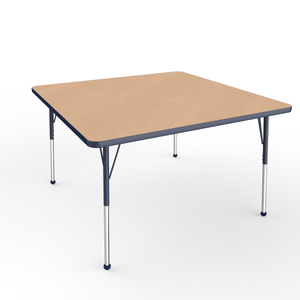 48in x 48in Square Premium Thermo-Fused Adjustable Activity Table Maple/Navy/Navy - Standard Ball