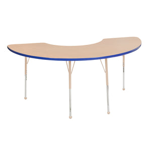 36in x 72in Half Moon Premium Thermo-Fused Adjustable Activity Table Maple/Blue/Sand - Standard Ball