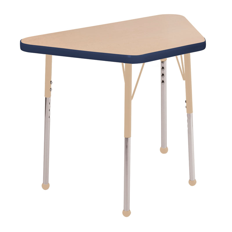 18in x 30in Trapezoid Premium Thermo-Fused Adjustable Activity Table Maple/Navy/Sand - Standard Ball