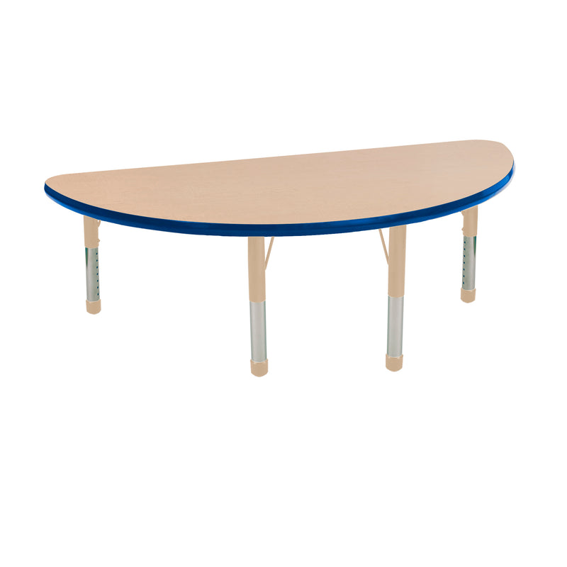 24in x 48in Half Round Premium Thermo-Fused Adjustable Activity Table Maple/Blue/Sand - Chunky Leg