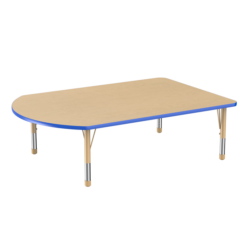 48in x 72in Work Around Premium Thermo-Fused Adjustable Activity Table Maple/Blue/Sand - Chunky Leg