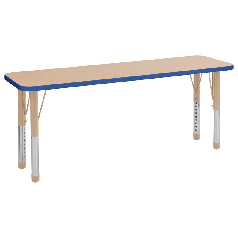 18in x 60in Rectangle Premium Thermo-Fused Adjustable Activity Table Maple/Blue/Sand - Chunky Leg