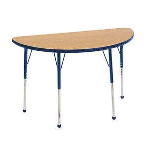24in x 48in Half Round Premium Thermo-Fused Adjustable Activity Table Oak/Navy/Navy - Standard Ball