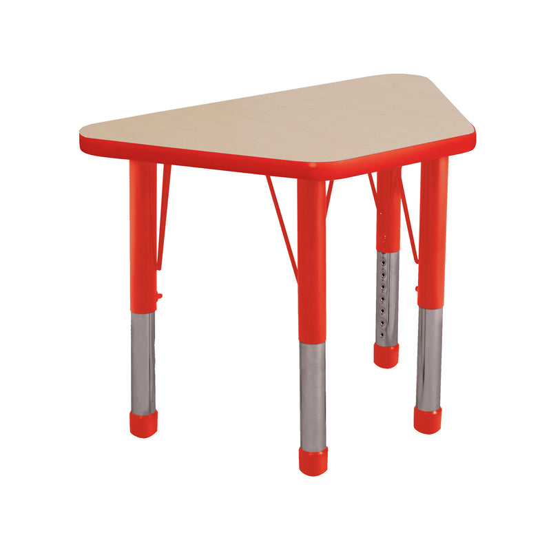 18in x 30in Trapezoid Premium Thermo-Fused Adjustable Activity Table Maple/Red/Red - Chunky Leg
