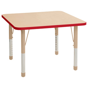 36in x 36in Square Premium Thermo-Fused Adjustable Activity Table Maple/Red/Sand - Chunky Leg
