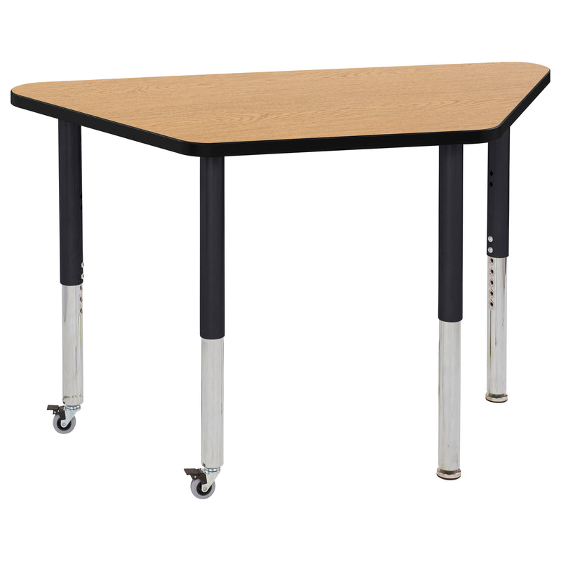 24in x 48in Trapezoid Premium Thermo-Fused Adjustable Activity Table Oak/Black/Black - Super Leg