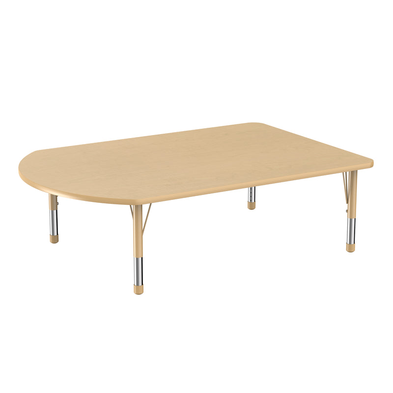 48in x 72in Work Around Premium Thermo-Fused Adjustable Activity Table Maple/Maple/Sand - Chunky Leg