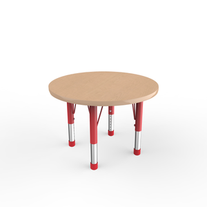 30in Round Premium Thermo-Fused Adjustable Activity Table Maple/Maple/Red - Chunky Leg