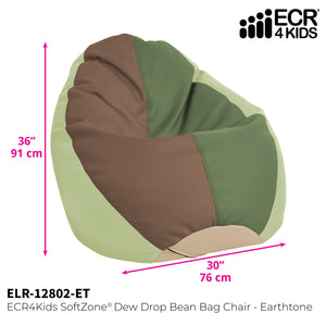 SoftZone® Dew Drop Bean Bag Chair - Earthtone