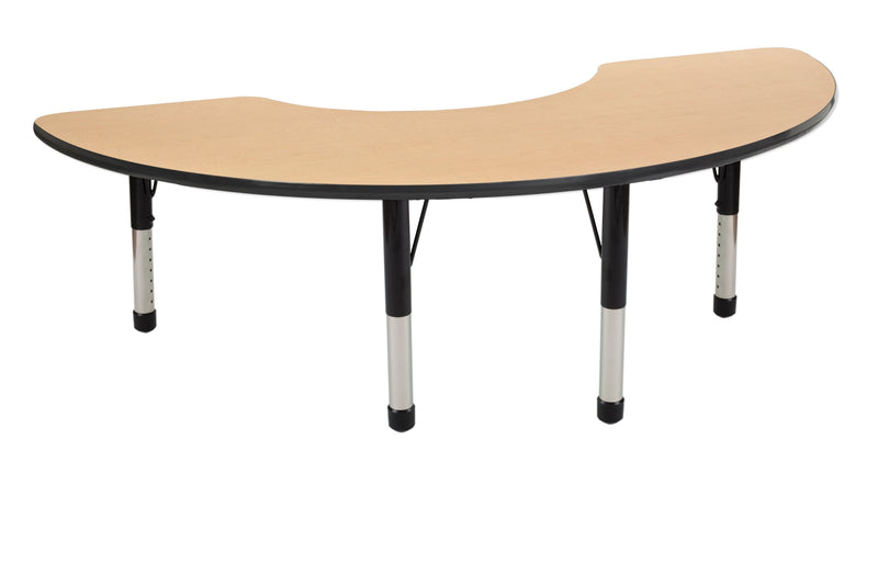 36in x 72in Half Moon Premium Thermo-Fused Adjustable Activity Table Maple/Black/Black - Chunky Leg