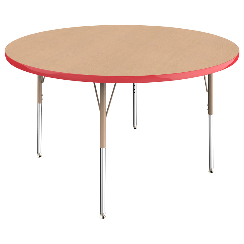 48in Round Premium Thermo-Fused Adjustable Activity Table Maple/Red/Sand - Standard Swivel