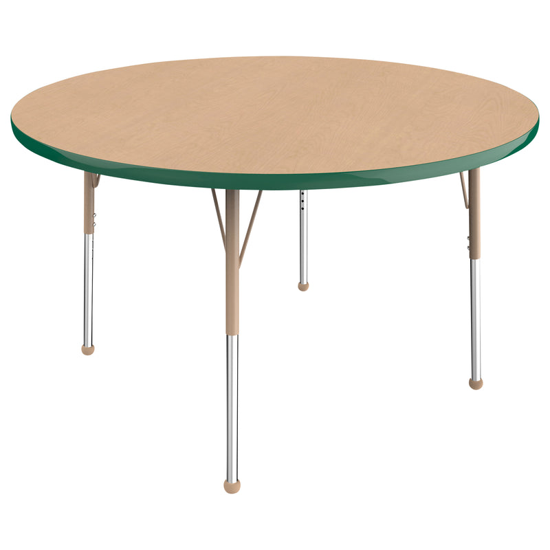 48in Round Premium Thermo-Fused Adjustable Activity Table Maple/Green/Sand - Standard Ball