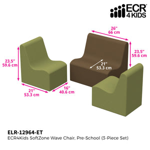 SoftZone® Wave Pre-School Seating Set 3-Piece - Earthtone