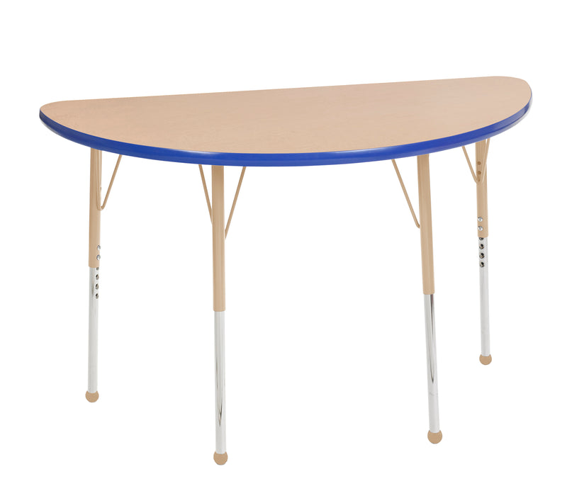 24in x 48in Half Round Premium Thermo-Fused Adjustable Activity Table Maple/Blue/Sand - Standard Ball