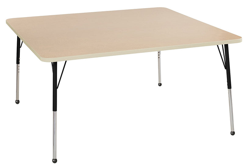 60in x 60in Square Premium Thermo-Fused Adjustable Activity Table Maple/Maple/Black - Standard Ball
