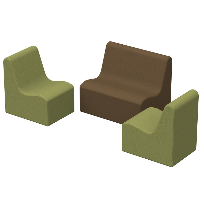 SoftZone® Wave Toddler Seating Set 3-Piece - Earthtone
