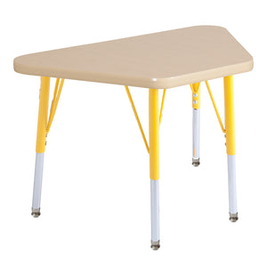 18in x 30in Trapezoid Premium Thermo-Fused Adjustable Activity Table Maple/Maple/Yellow - Standard Swivel