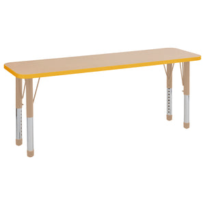 18in x 60in Rectangle Premium Thermo-Fused Adjustable Activity Table Maple/Yellow/Sand - Chunky Leg