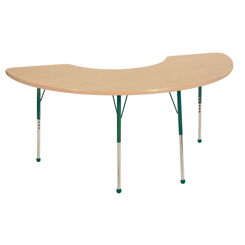 36in x 72in Half Moon Premium Thermo-Fused Adjustable Activity Table Maple/Maple/Green - Standard Ball