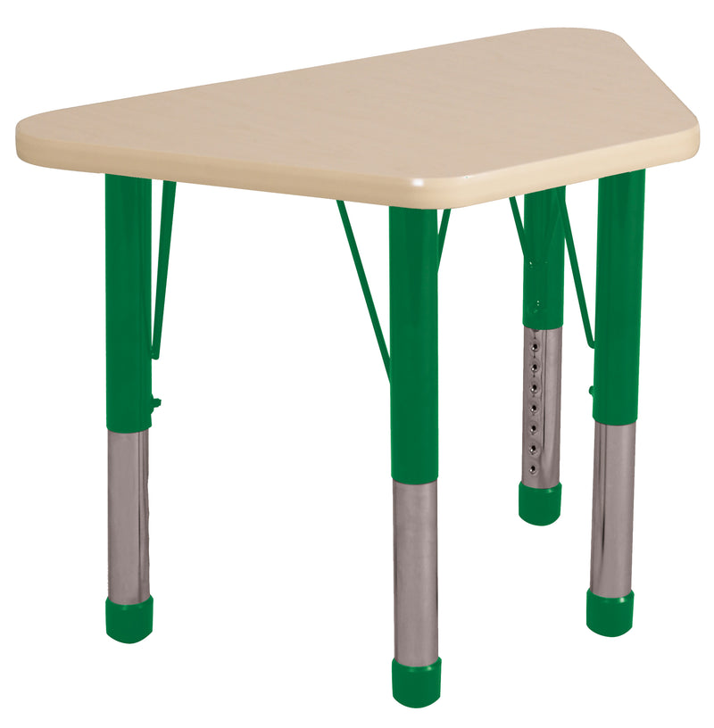 18in x 30in Trapezoid Premium Thermo-Fused Adjustable Activity Table Maple/Maple/Green - Chunky Leg