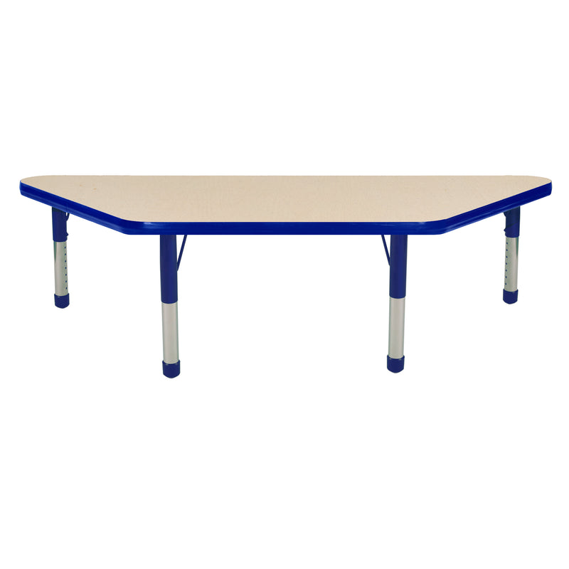 24in x 48in Trapezoid Premium Thermo-Fused Adjustable Activity Table Maple/Blue/Blue - Chunky Leg