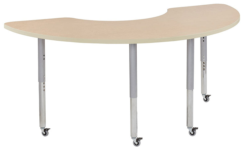36in x 72in Half Moon Premium Thermo-Fused Adjustable Activity Table Maple/Maple/Silver - Super Leg