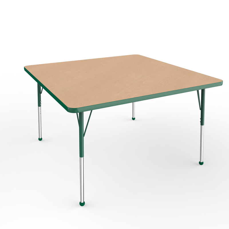 48in x 48in Square Premium Thermo-Fused Adjustable Activity Table Maple/Green/Green - Standard Ball