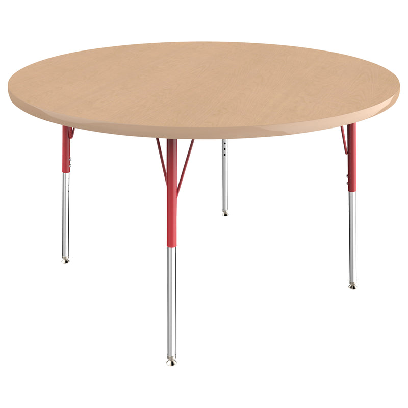 48in Round Premium Thermo-Fused Adjustable Activity Table Maple/Maple/Red - Standard Swivel