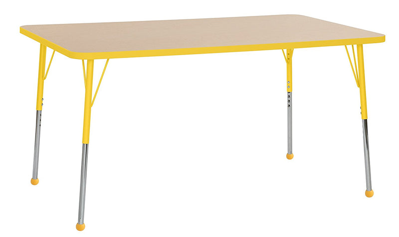 36in x 60in Rectangle Premium Thermo-Fused Adjustable Activity Table Maple/Yellow/Yellow - Standard Ball