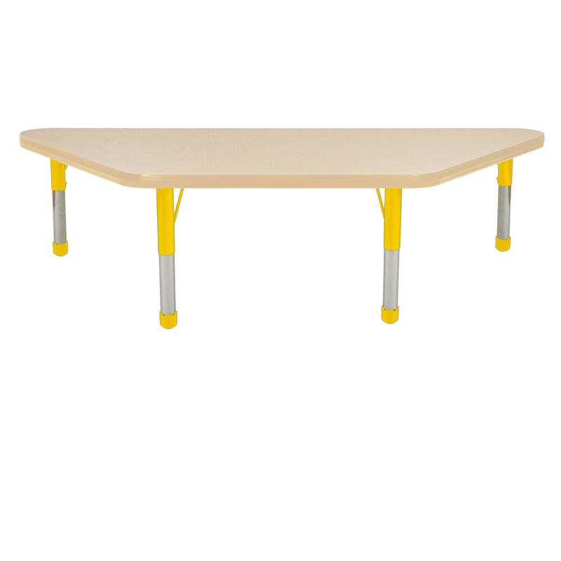 24in x 48in Trapezoid Premium Thermo-Fused Adjustable Activity Table Maple/Maple/Yellow - Chunky Leg