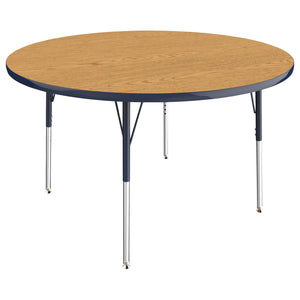 48in Round Premium Thermo-Fused Adjustable Activity Table Oak/Navy/Navy - Standard Swivel