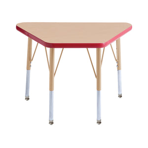 18in x 30in Trapezoid Premium Thermo-Fused Adjustable Activity Table Maple/Red/Sand - Standard Swivel
