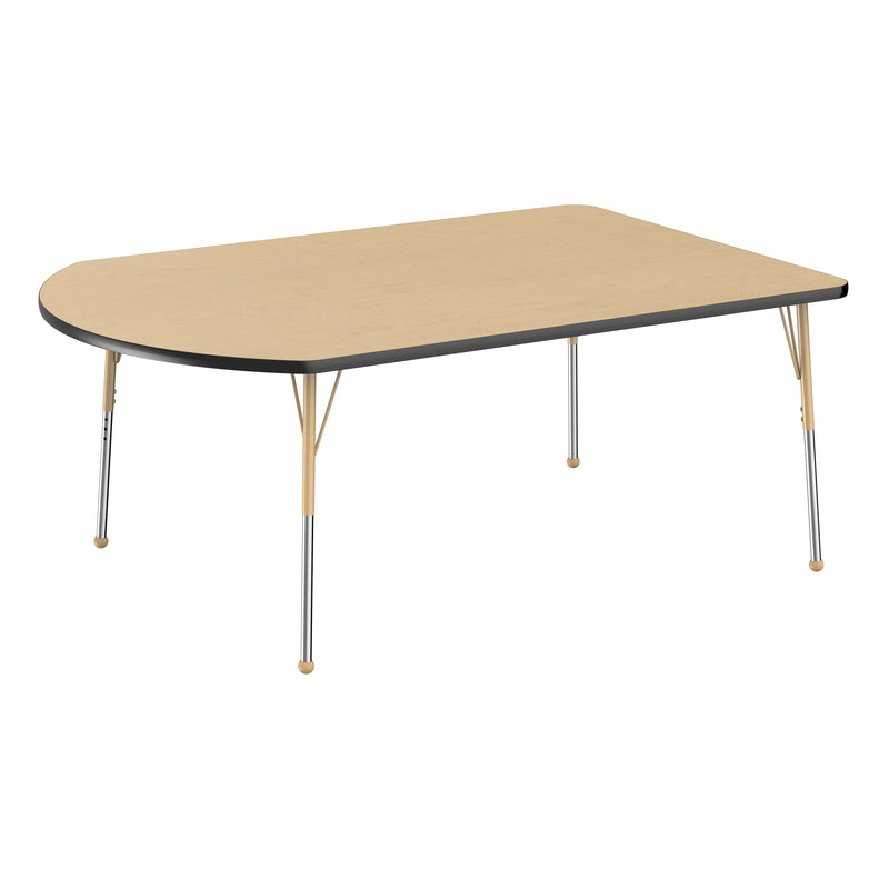 48in x 72in Work Around Premium Thermo-Fused Adjustable Activity Table Maple/Black/Sand - Standard Ball