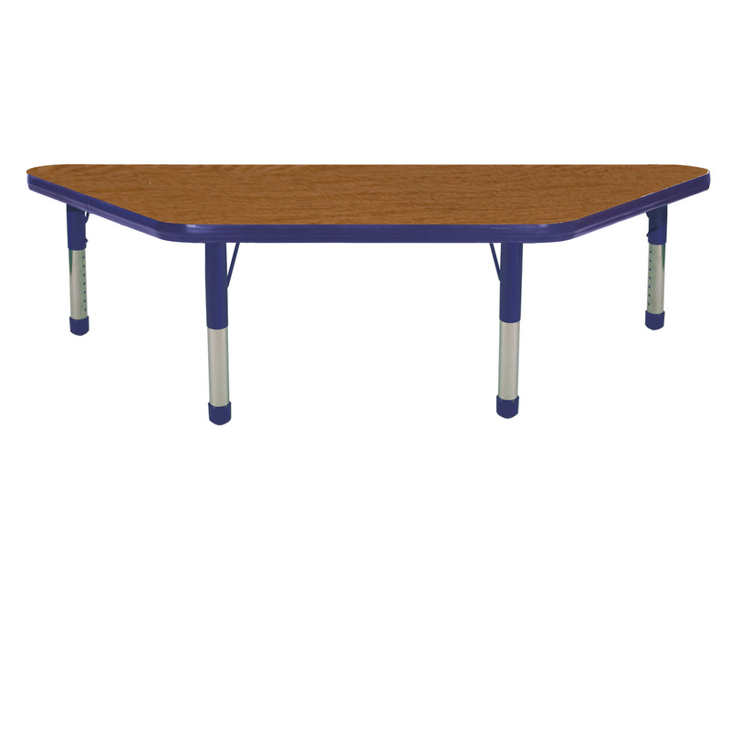 24in x 48in Trapezoid Premium Thermo-Fused Adjustable Activity Table Oak/Navy/Navy - Chunky Leg