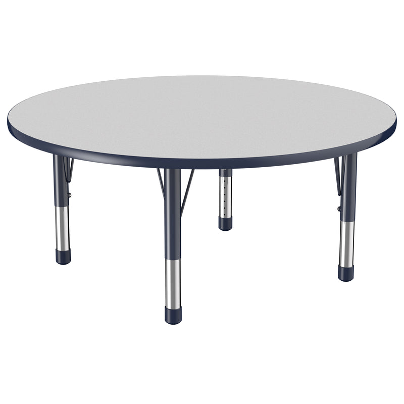 48in Round Premium Thermo-Fused Adjustable Activity Table Grey/Navy/Navy - Chunky Leg