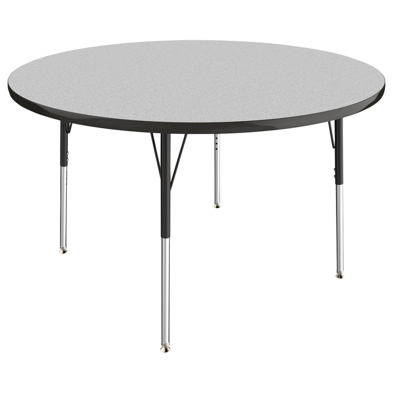 48in Round Premium Thermo-Fused Adjustable Activity Table Grey/Black/Black - Standard Swivel